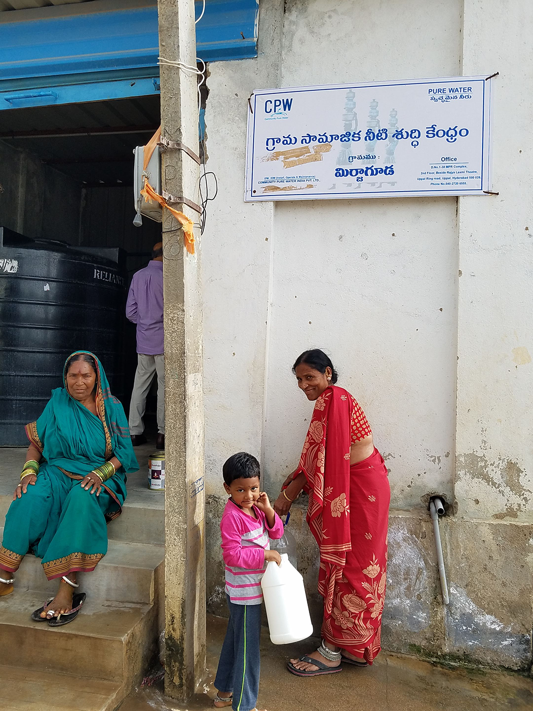 Residents of Pulgacherla collecting water from a Community Pure Water Center