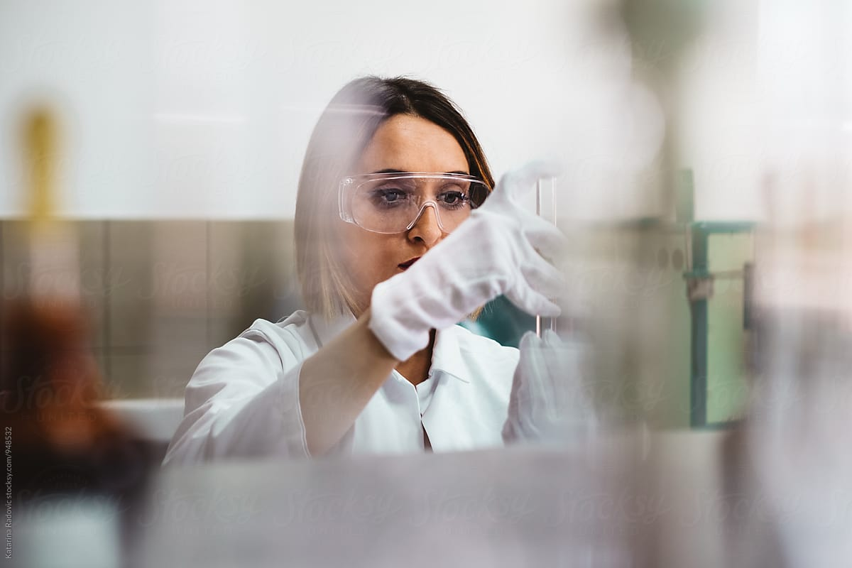 Woman working on lab