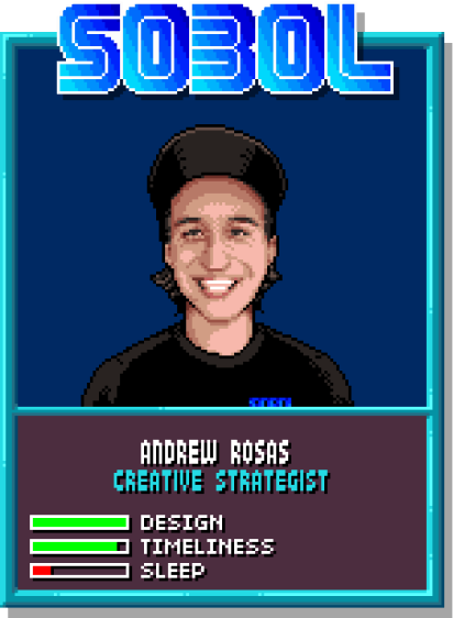 8-bit style trading cards for each of the SOBOL team members