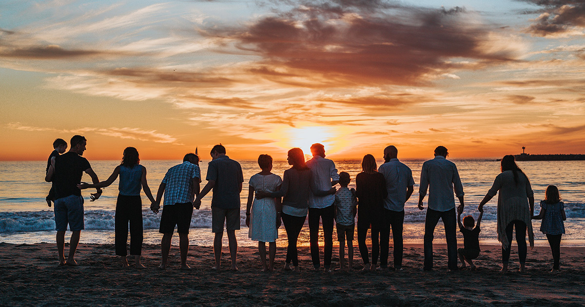 People in a line holding hands on the beach watching the sunset