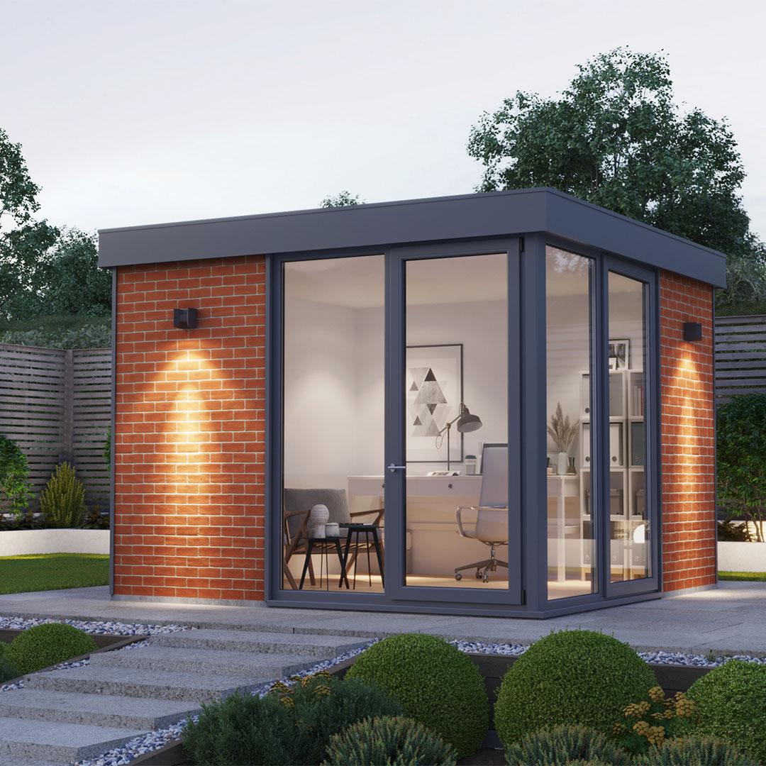 Contemporary Red Brick Garden Room