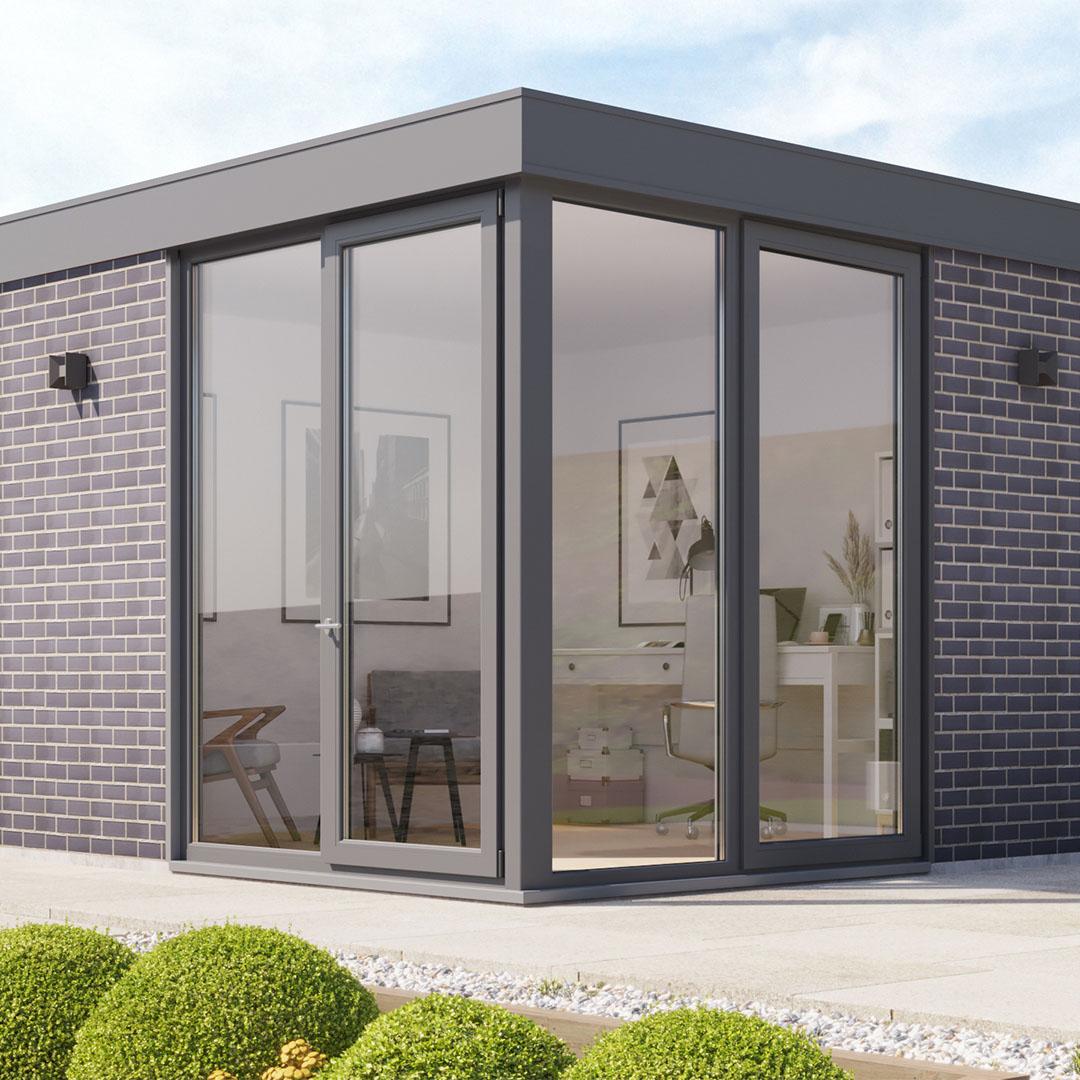 Contemporary Blue Brick Garden Room