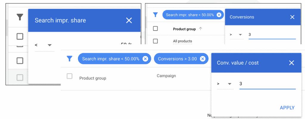 google shopping product bids filter adwords UI