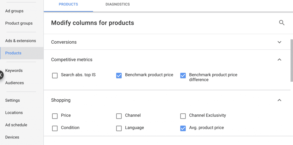 google shopping price benchmarks