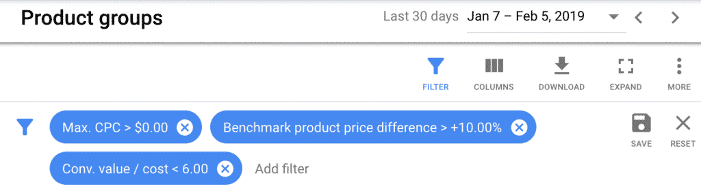 google shopping saved filter bidding rule for price benchmarks