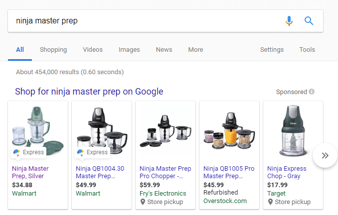 Google Shopping Actions example Ninja Blender Ad