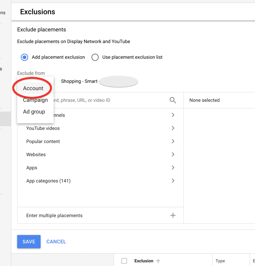 adding placement exclusions at an account level in google smart shopping campaigns