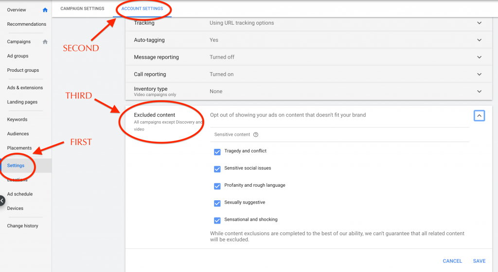 exclude topics account level in google ads