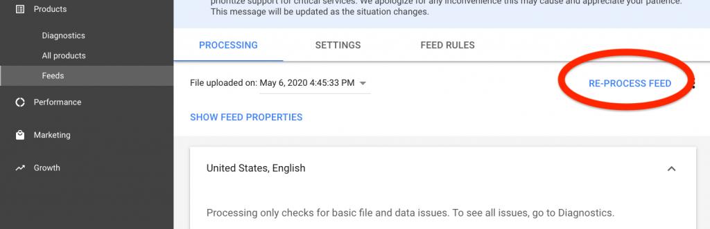 google merchant center re-process feed