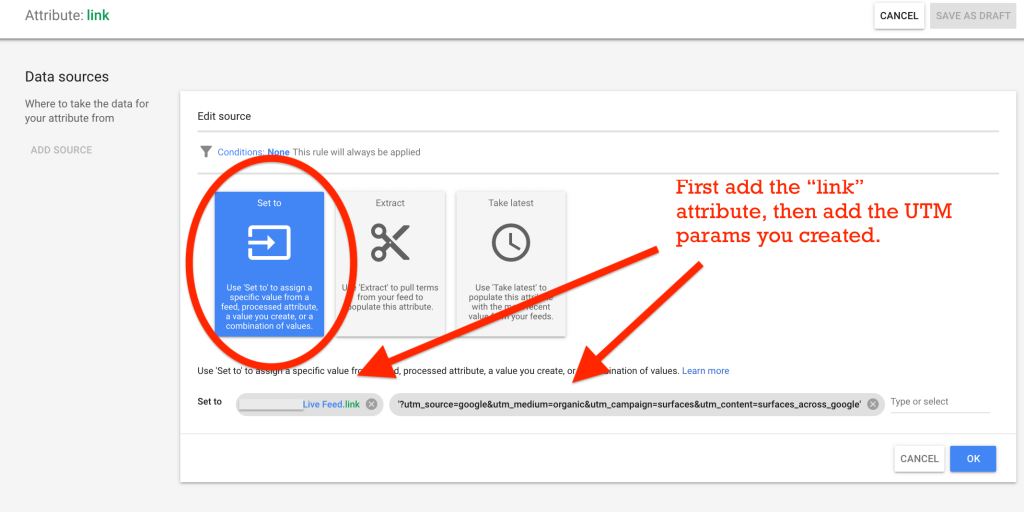 google merchant center feed rules for link attribute