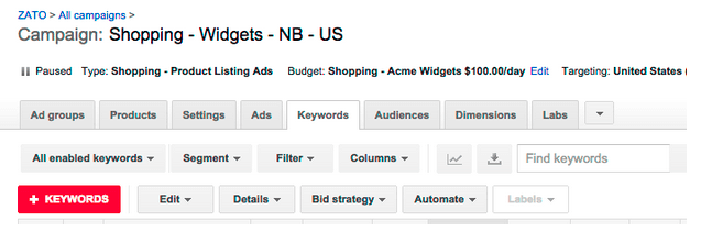 negative keywords in shopping campaign