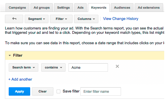 filter search query report