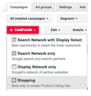 Create a google shopping campaign