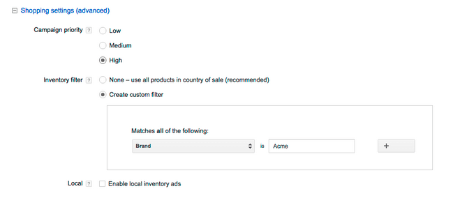 priority settings shopping campaign