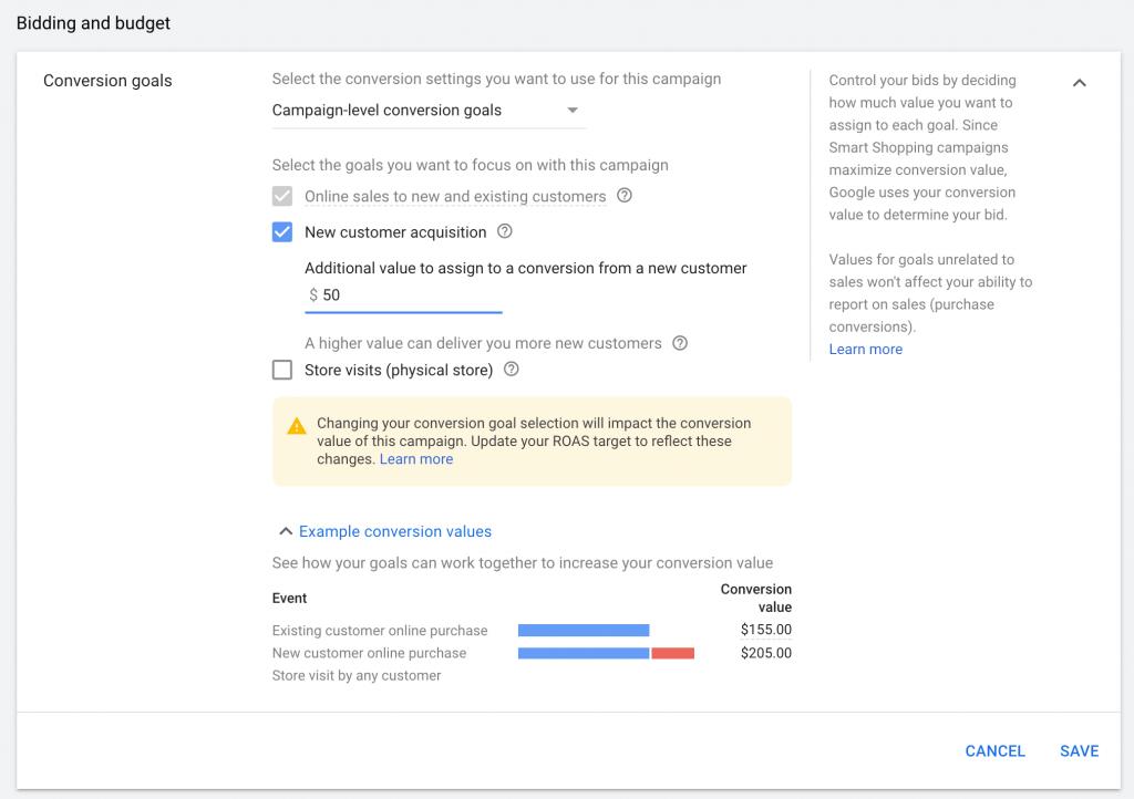 google smart shopping new customer acquisition conversion goals
