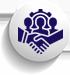 Creative teamwork on a global challenge icon