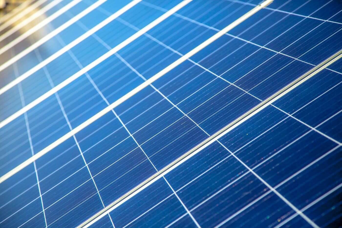 Close up of solar panels.
