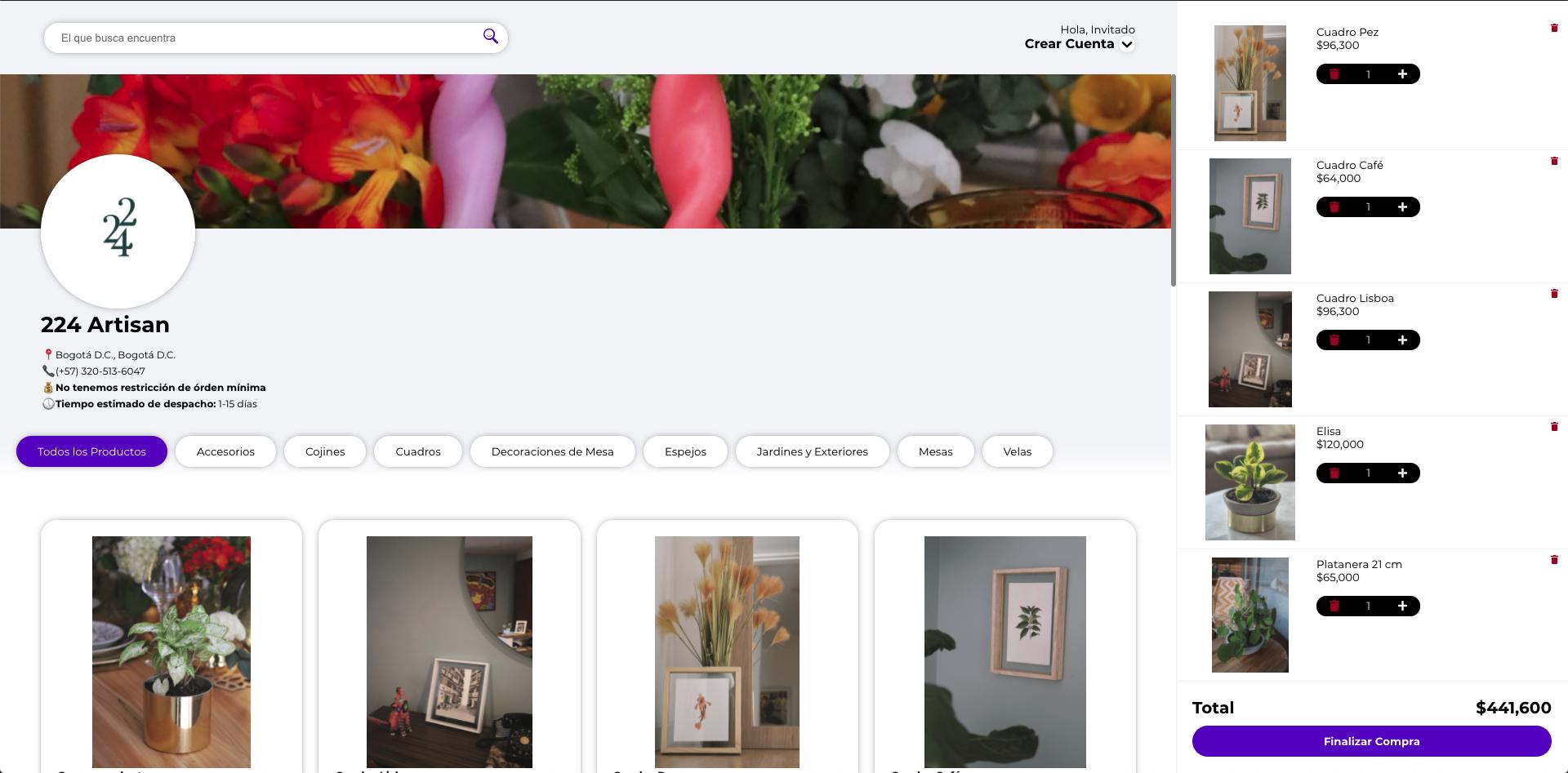 Ejemplo de un catálogo eCommerce de Preki