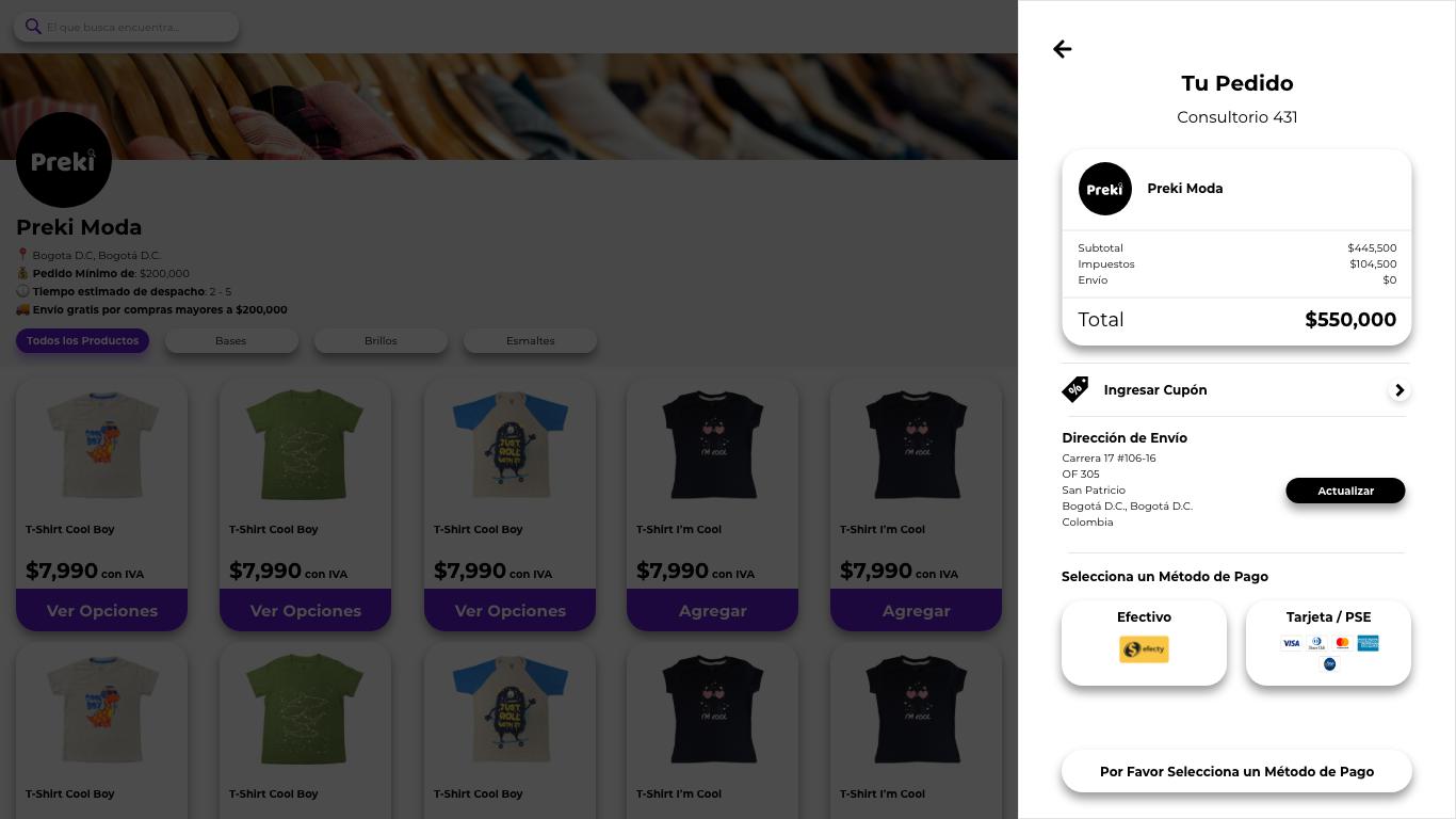 Vista del checkout de un catálogo eCommerce de Preki. Pagos seguros
