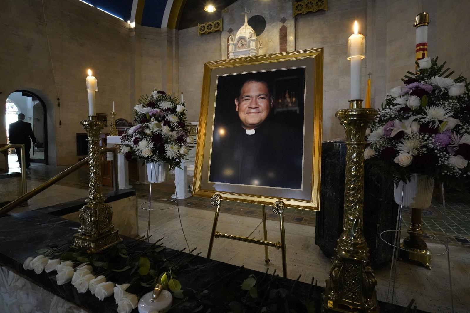 Portrait of the late Father Jorge Ortiz-Garay in the sanctuary of St. Brigid Church, Brooklyn, N.Y., on March 27, 2021, marking the first anniversary of his death from COVID-19 – the first Catholic priest in the U.S. to succumb to the coronavirus. [Gregory A. Shemitz]