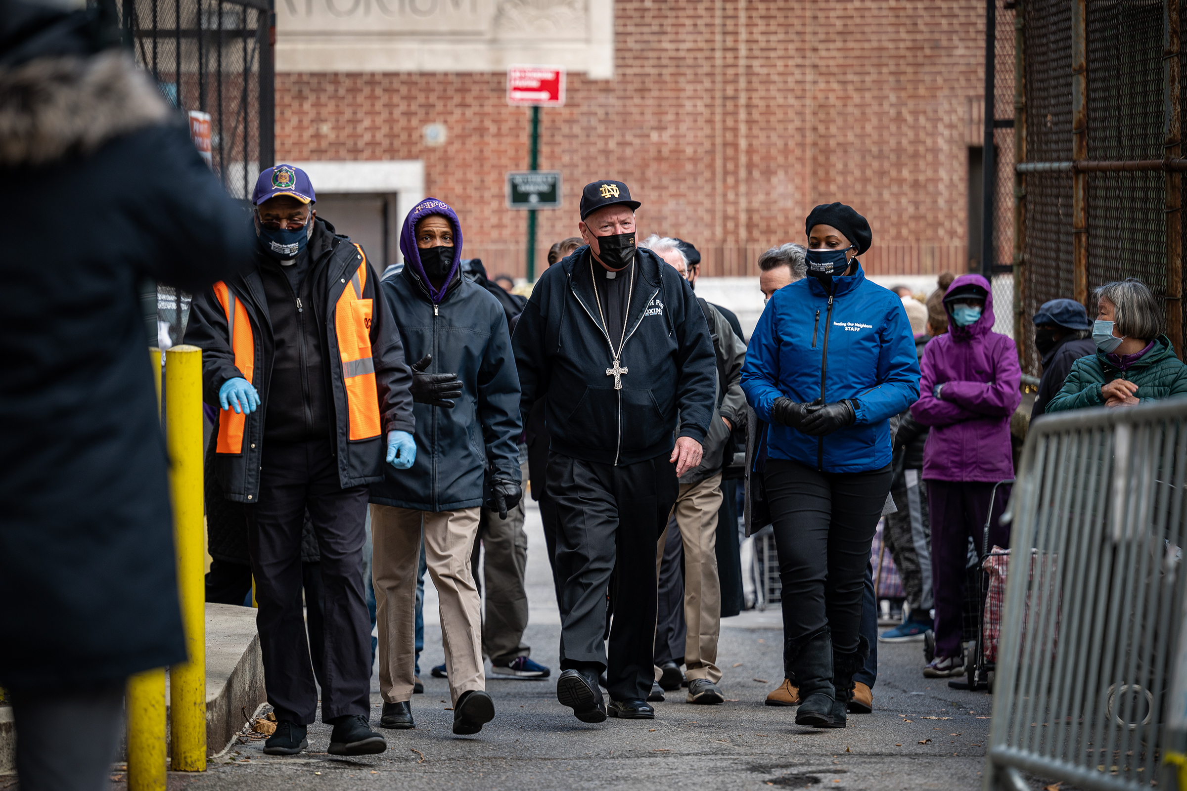 Timothy Cardinal Dolan, Archbishop of New York arrives at the Lt. Joseph P. Kennedy Community Center in Harlem on November 24, 2020 to assist with the distribution of food for Thanksgiving to those in need. [Johnny Zhang]