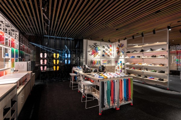 An interior shot of the customisation bar in the Nike Store in Shanghai.