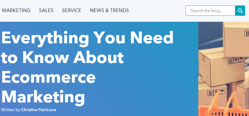 A screenshot of Hubspot's 'Everything You Need to Know About Ecommerce Marketing' blog post.