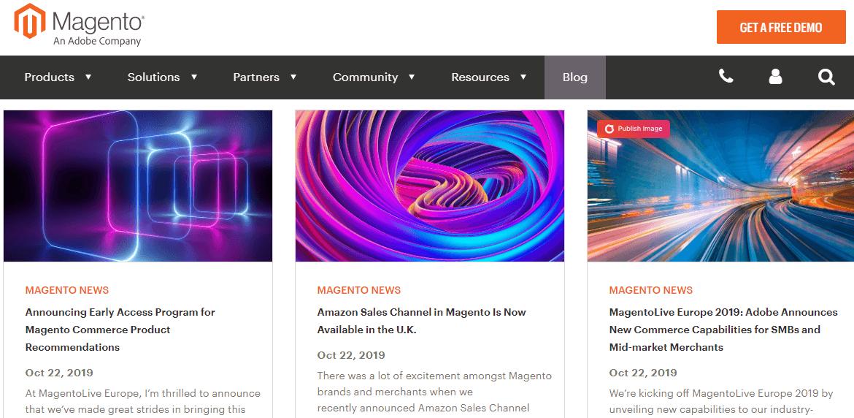 A screenshot of the Magento blog showing three Magento News articles.
