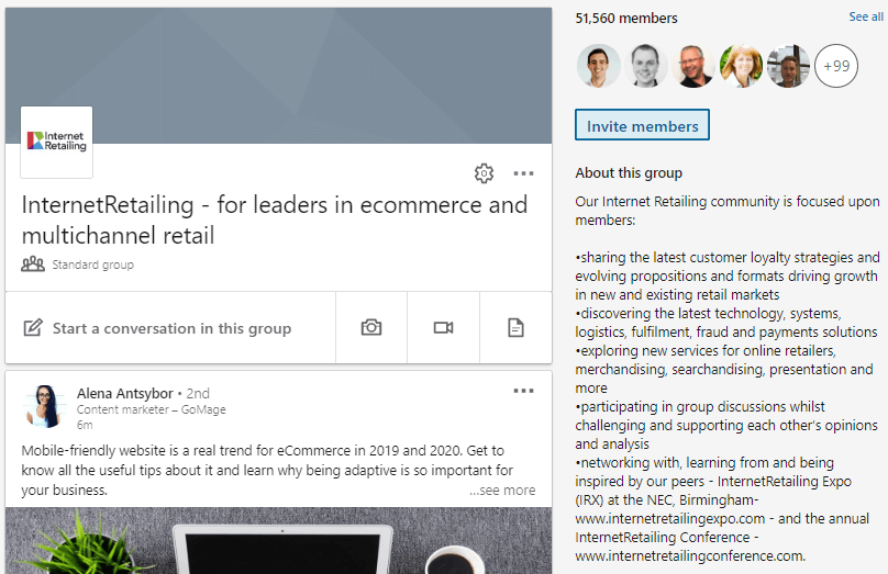 A screenshot of the Internet Retailing LinkedIn group showing that it has 51,560 members.