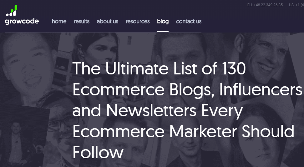 A screenshot of Growcode's list of influencers blog post.