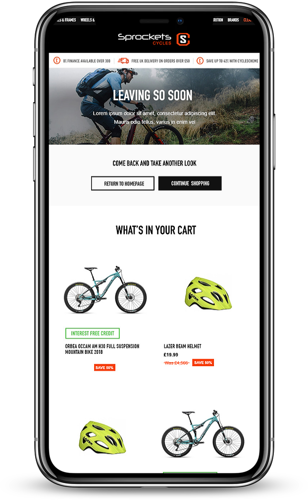 An example cart abandonment email for cycling brand Sprockets that prompts users to return to the site to complete their purchase.