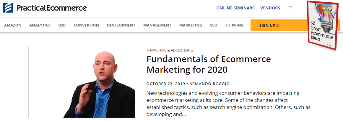 A screenshot of Practical Ecommerce showing a featured article titled 'Fundamentals of Ecommerce Marketing for 2020'.