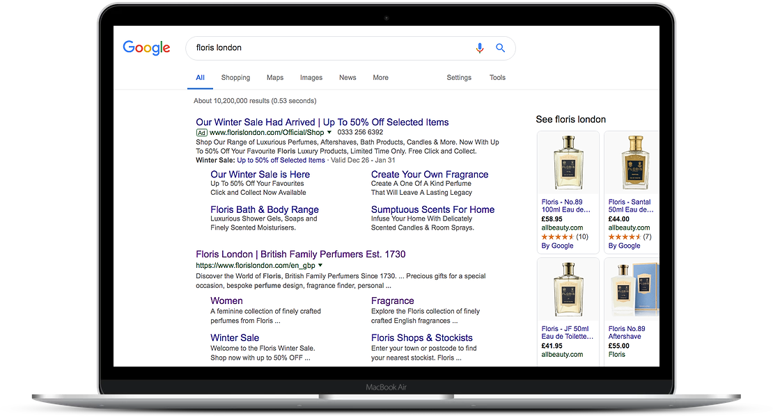 A laptop showing search results for Floris London, including a paid ad for the brand's winter sale.