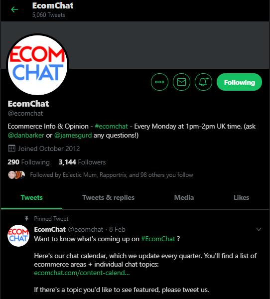 A screenshot of Ecom Chat on Twitter