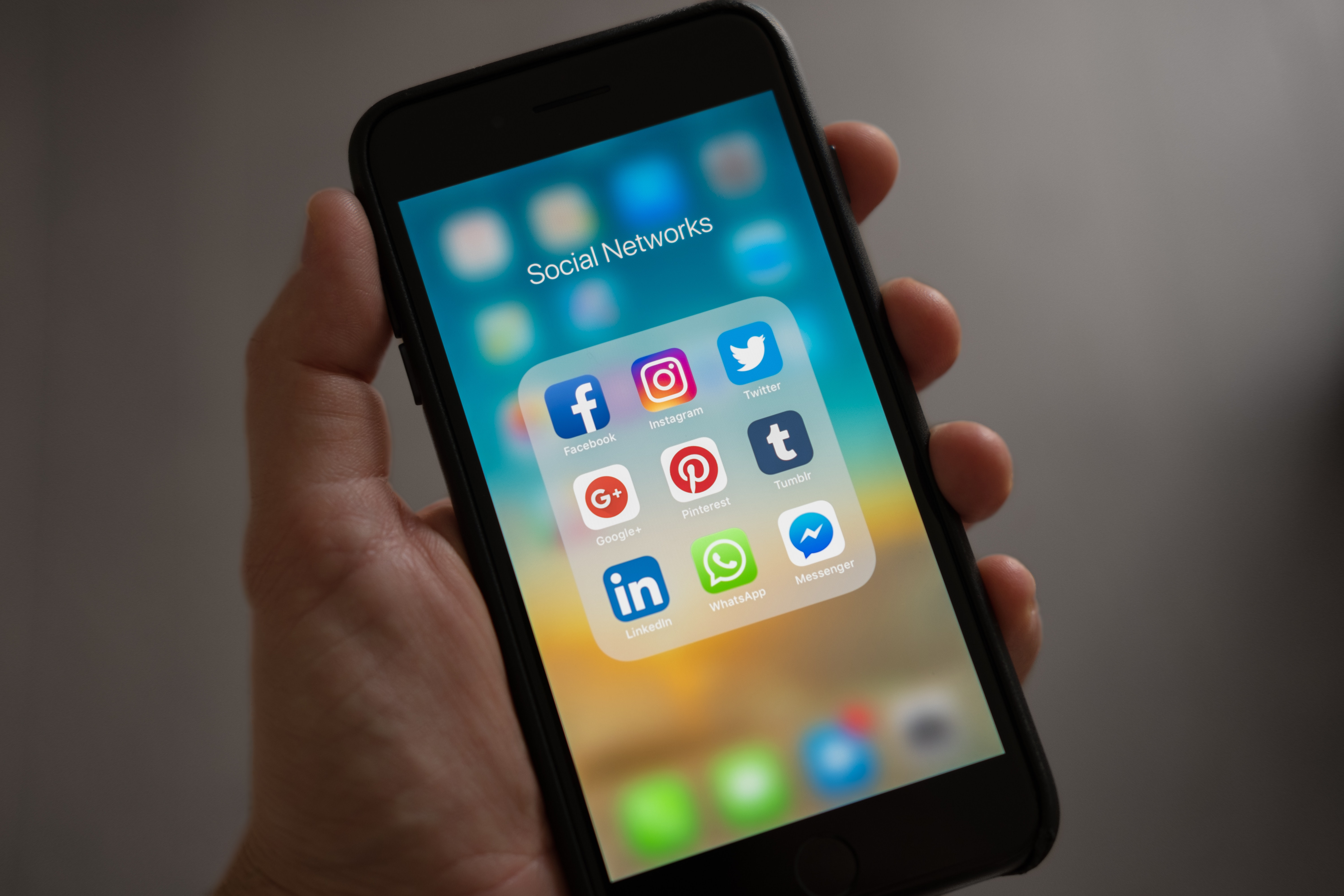 A phone screen showing a selection of social media icons