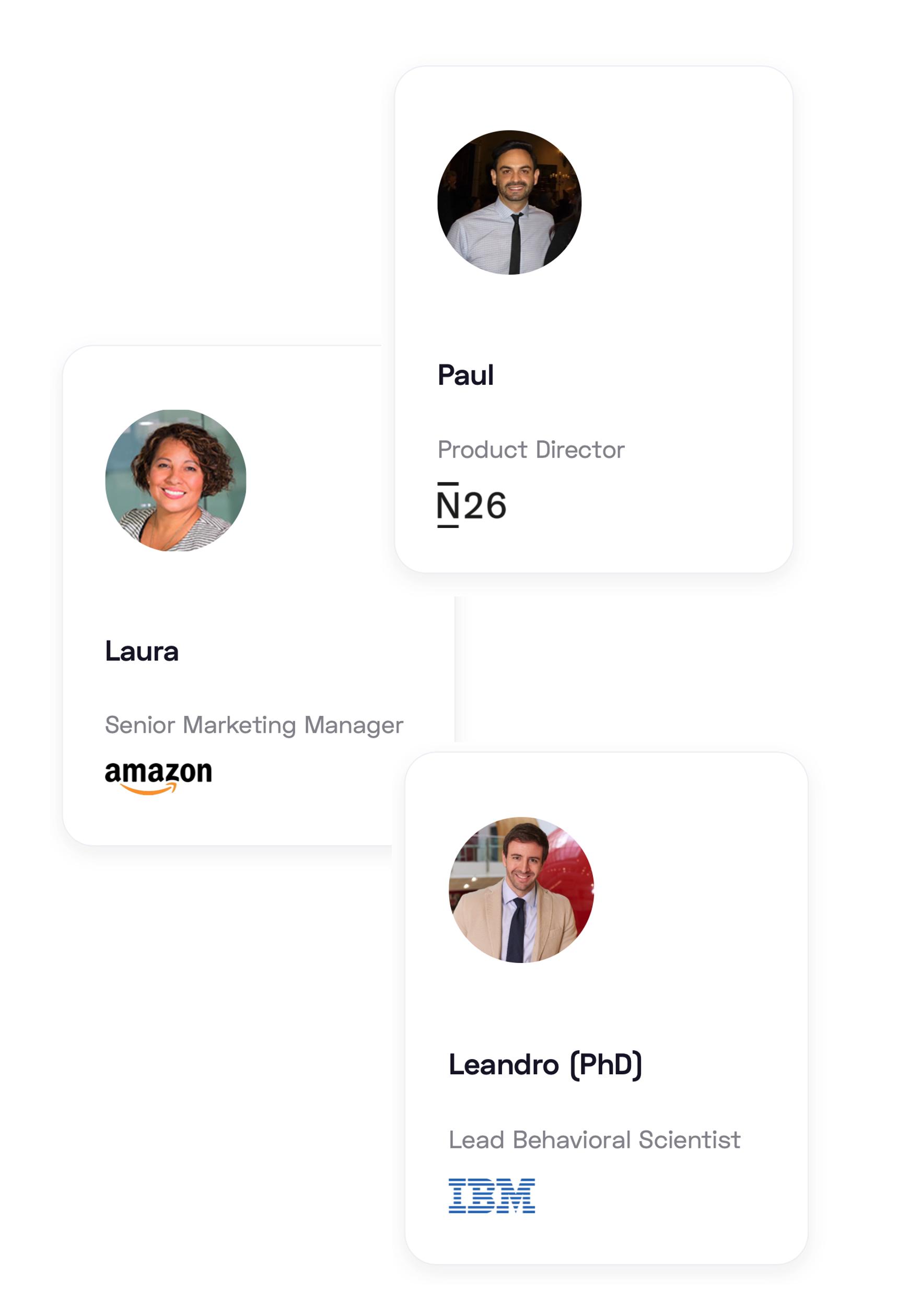 Experten Paul, Laura und Leandro