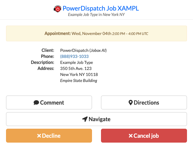 Example TechPortal for a technician with the Cancel Job permission turned on
