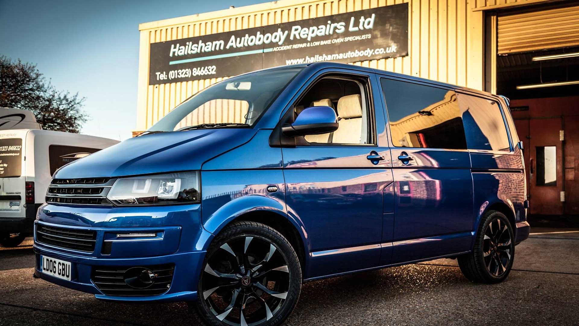A pristine van outside Hailsham Autobody's workshop