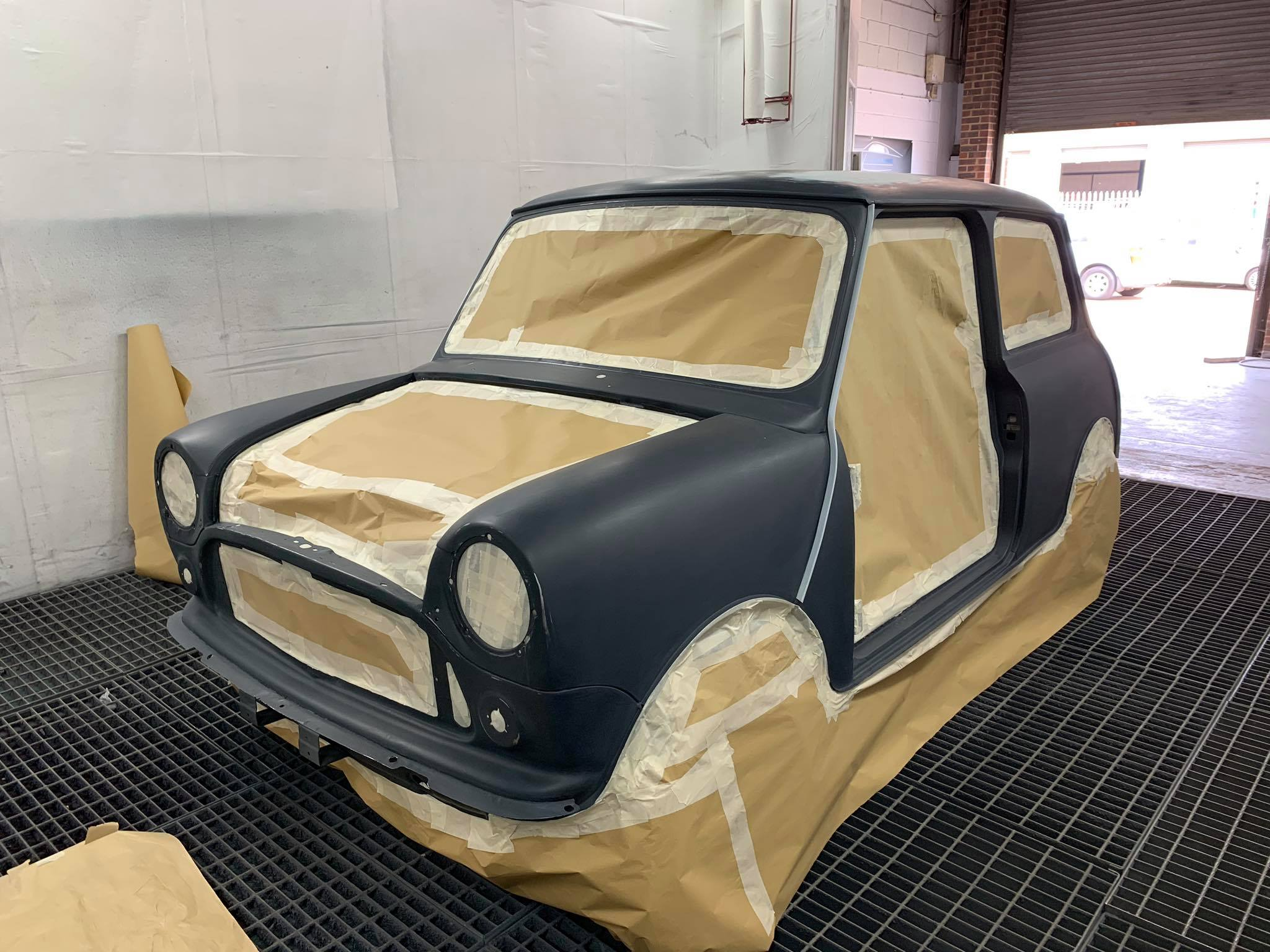 A mini being re-sprayed