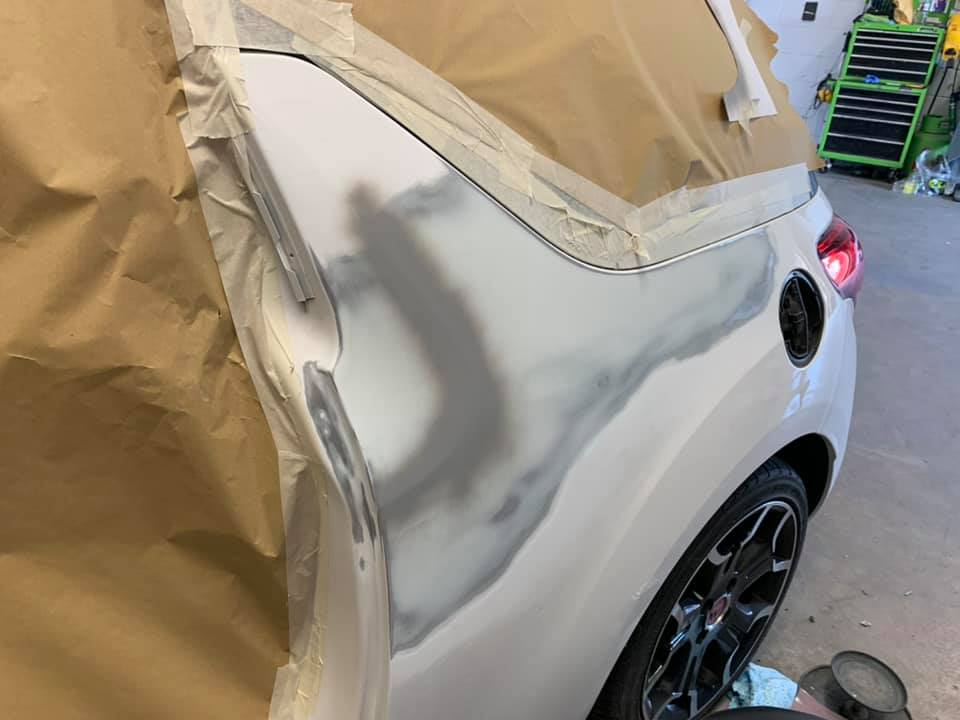 A Citroen DS3 car being repaired