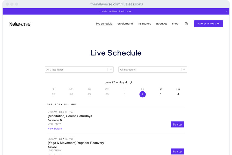 A wellness website showing a scheduling widget for live classes