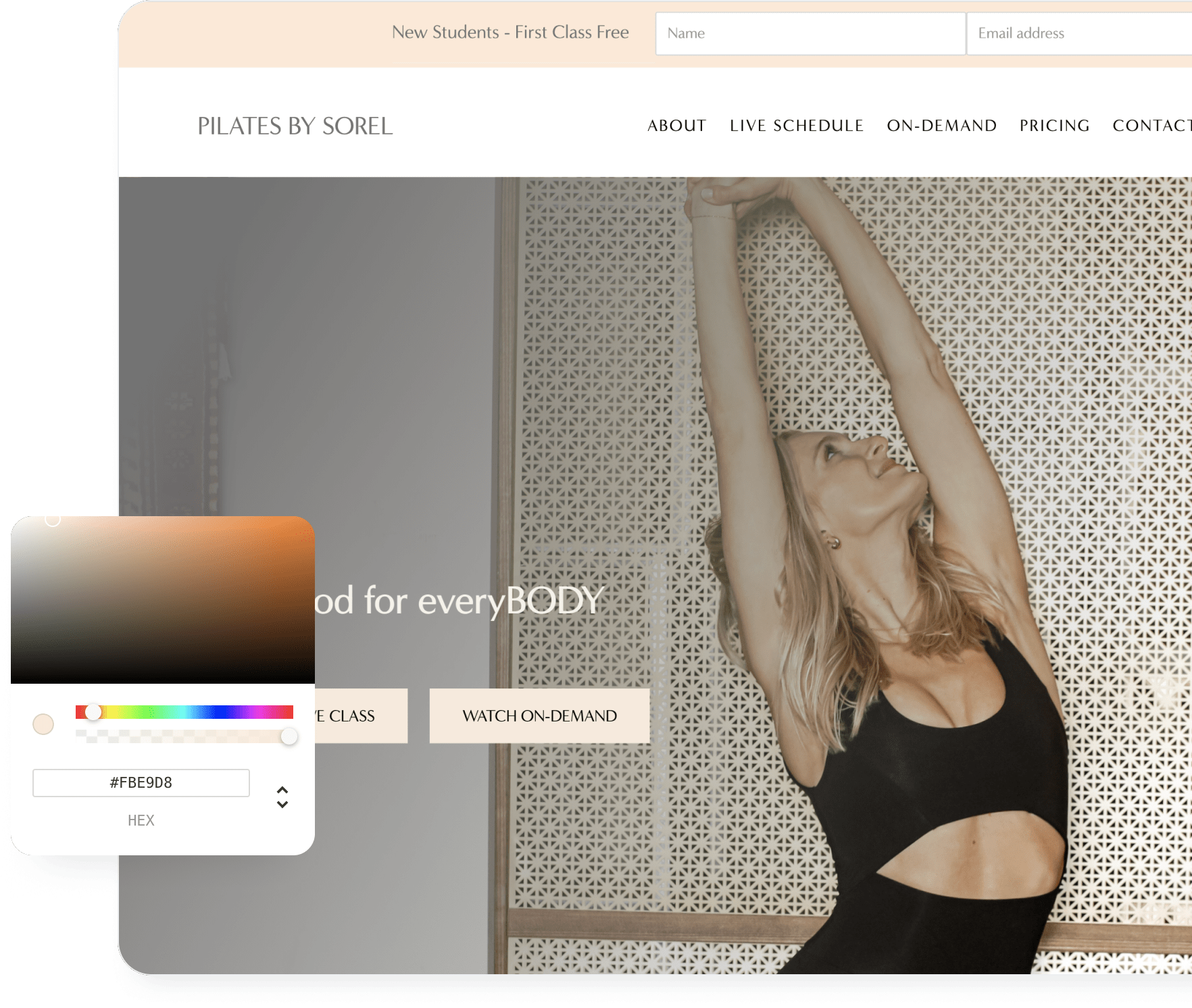 An example of an arketa created website with a color picker showing how easy it is to customize