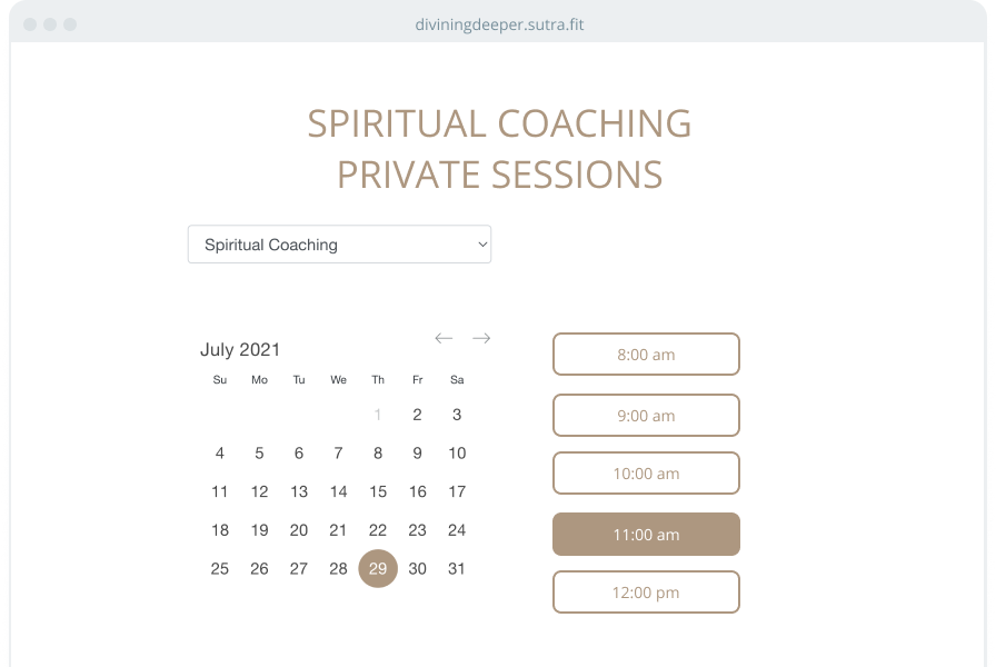 A web page showing a private session scheduler