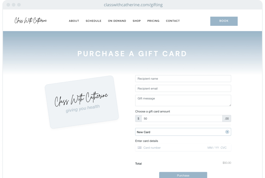 A gift card checkout page