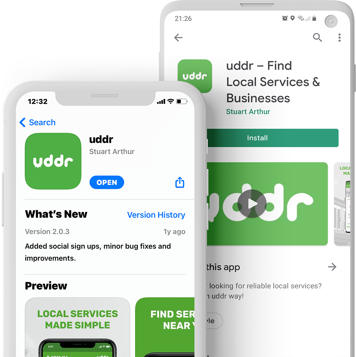 Download the uddr app on the Apple App Store and Google Playstore