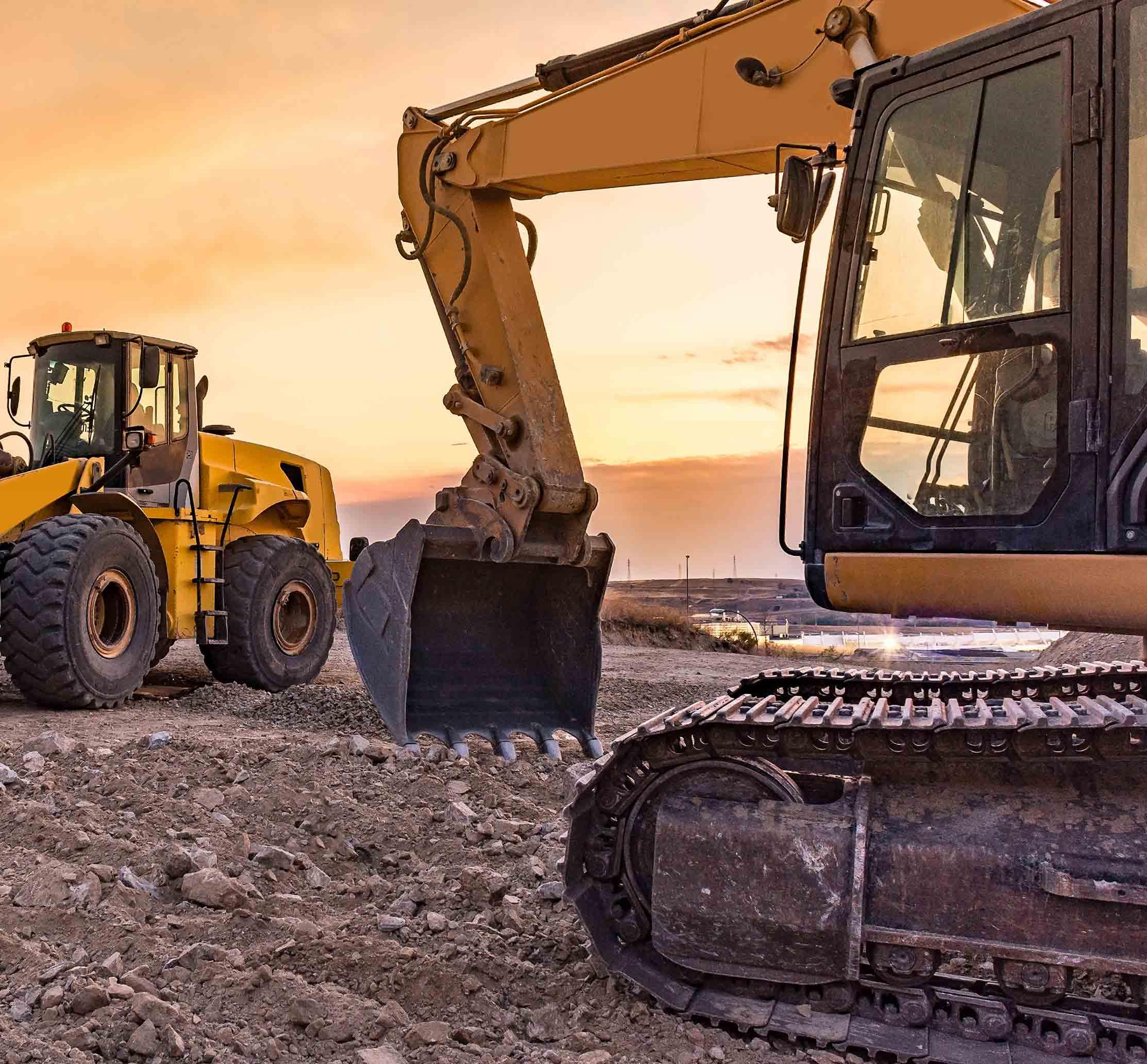 excavators on a construction site