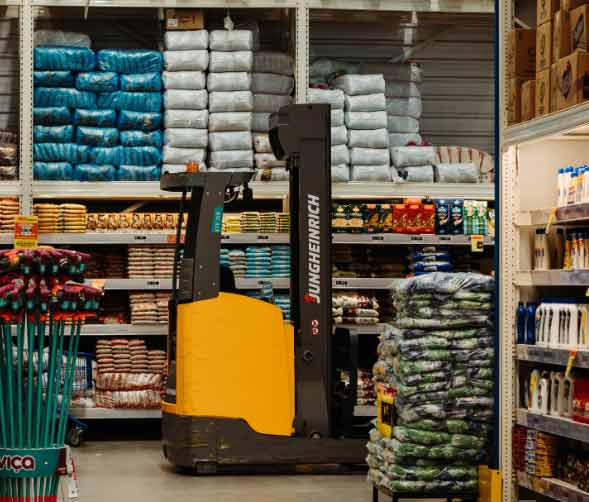 forklift on the shop floor carrying products