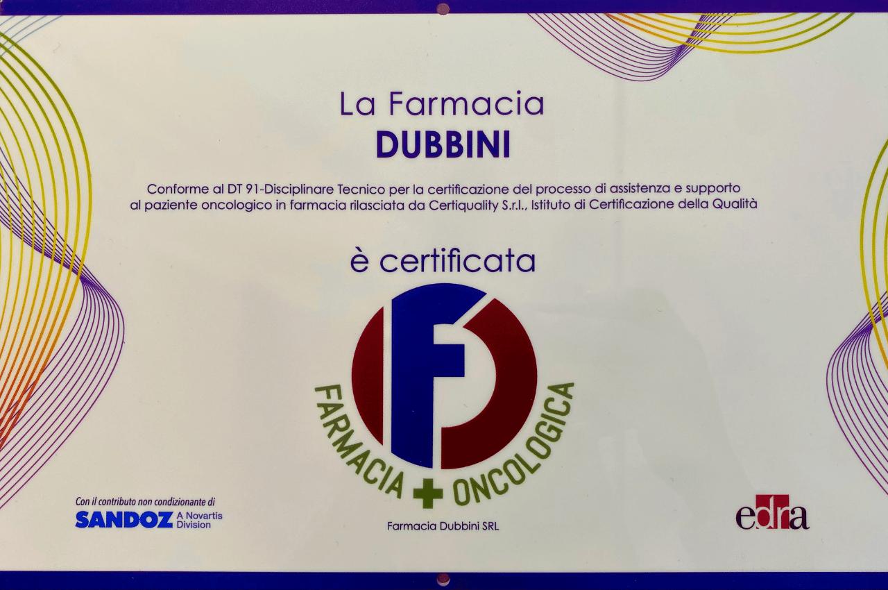 Lafarmacia.Dubbini di Ancona riconosciuta farmacia oncologica