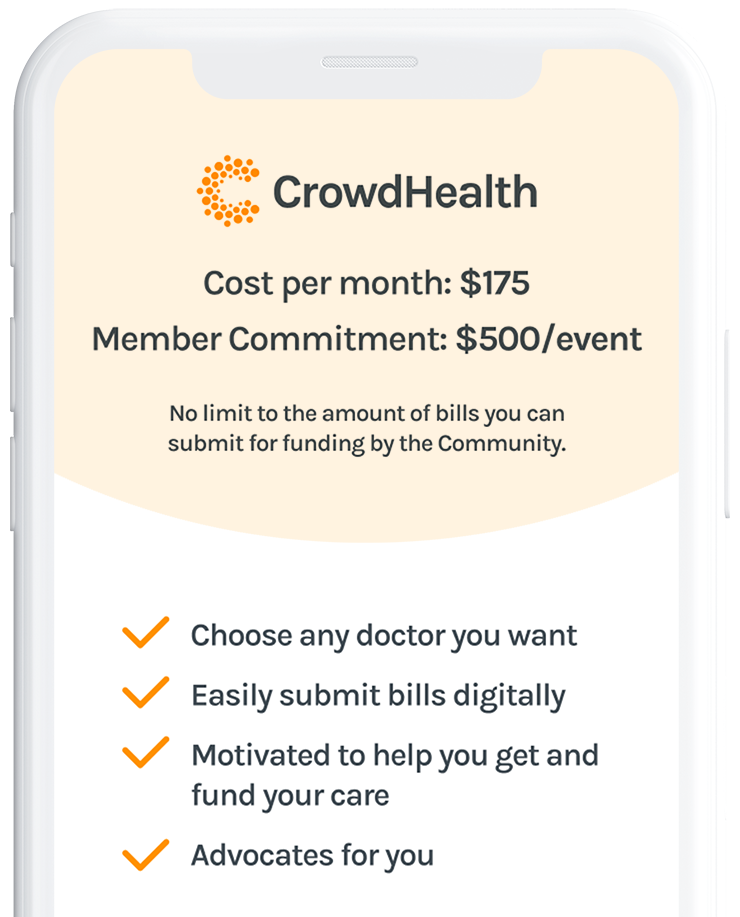 A phone image comparing the benefits of CrowdHealth to traditional insurance