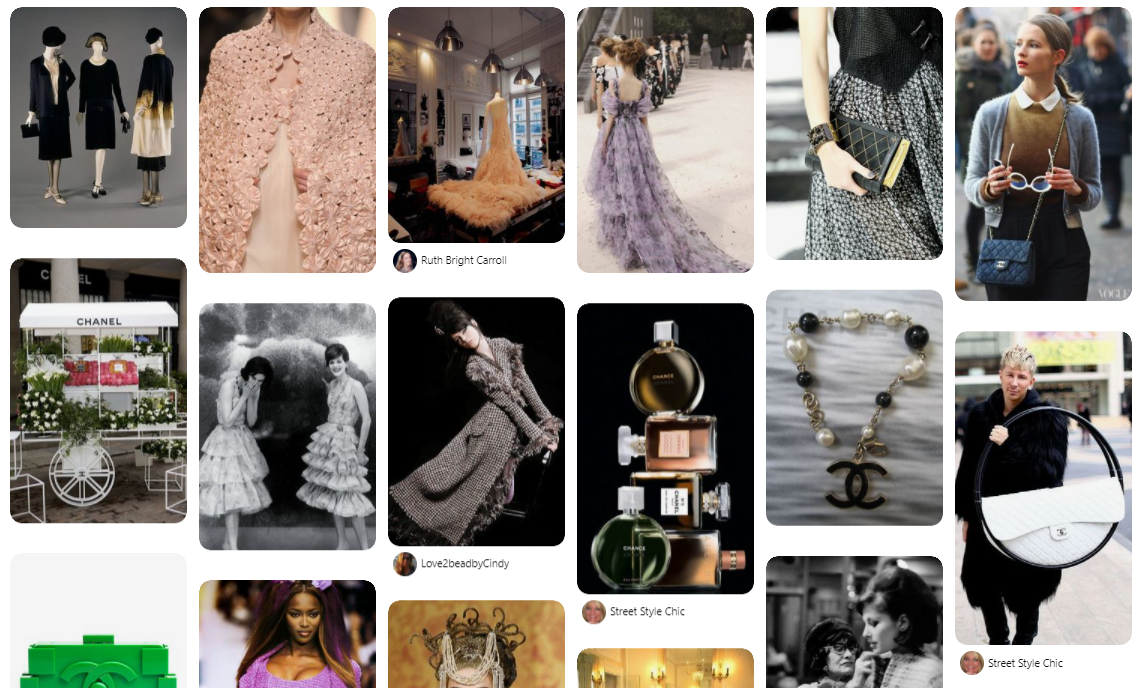 Chanel are seeing entirely free brand-building for digital luxury in the form of pinterest